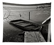 Boat In Ice - Lake Wingra - Madison - Wi Tapestry