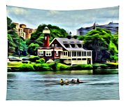 Boathouse Rowers On The Row Tapestry