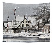 Boathouse Snow Tapestry