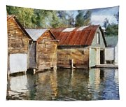 Boathouses On The Torch River Ll Tapestry