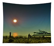 Boating At Sunrise Tapestry