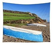 Boats Along Branscombe Beach Tapestry