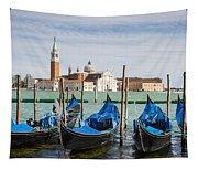 Boats Anchored At Marina Venice, Italy Tapestry