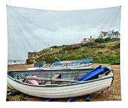 Boats At Burton Bradstock Tapestry
