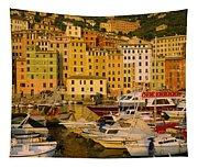 Boats At The Harbor, Camogli, Liguria Tapestry