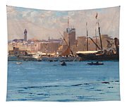Boats In A Port Tapestry