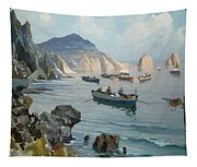 Boats In A Rocky Cove  Tapestry
