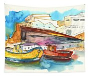 Boats In Ericeira In Portugal Tapestry