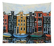 Boats In Front Of The Buildings Vi Tapestry
