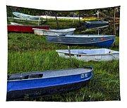 Boats In Marsh - Cape Neddick - Maine Tapestry