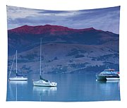 Boats In The Ocean At Dusk, Akaroa Tapestry