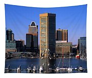 Boats Moored At Inner Harbor Viewed Tapestry