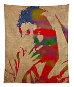 Bob Dylan Watercolor Portrait On Worn Distressed Canvas Tapestry by Design Turnpike