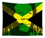 Bob Marley On Jamaican Flag Tapestry