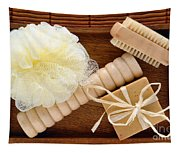 Body Care Accessories In Wood Tray Tapestry