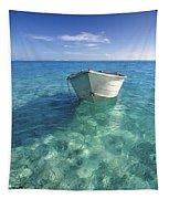 Bora Bora White Boat Tapestry