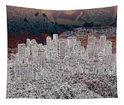 Boston Panorama Abstract 3 Tapestry