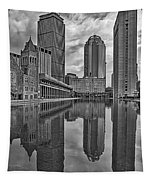 Boston Reflections Bw Tapestry
