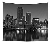 Boston Skyline Seaport District Bw Tapestry