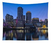 Boston Skyline Seaport District Tapestry