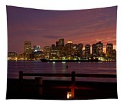 Boston Skyline Sunset Tapestry