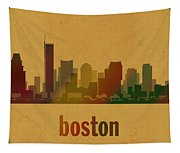 Boston Skyline Watercolor On Parchment Tapestry