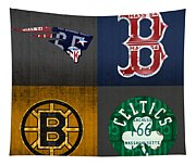 Boston Sports Fan Recycled Vintage Massachusetts License Plate Art Patriots Red Sox Bruins Celtics Tapestry