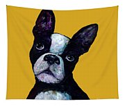 Boston Terrier On Yellow Tapestry