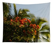 Bougainvilleas And Palm Trees Swaying In The Wind In Waikiki Honolulu Hawaii Tapestry