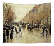 Boulevard Poissonniere In The Rain, C.1885 Oil On Canvas Tapestry