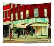 Boutique Fleuriste Coin Vert St Henri Flower Shop Notre Dame Montreal Urban Scenes Carole Spandau  Tapestry