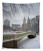 Bow Bridge Central Park In Winter  Tapestry by Vivienne Gucwa