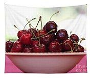 Bowl Of Cherries Closeup Tapestry