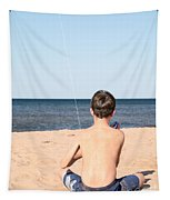 Boy At The Beach Flying A Kite Tapestry