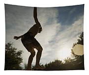 Boy Jumping Off Diving Board Tapestry