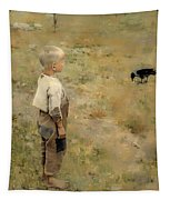 Boy With A Crow Tapestry