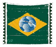 Brazil Flag Like Stamp In Grunge Style Tapestry