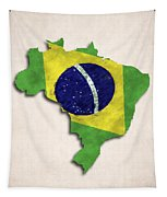 Brazil Map Art With Flag Design Tapestry
