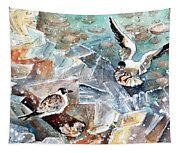 Breaking The Ice On Lake Constance Tapestry