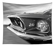 Breaking The Sound Barrier - Mach 1 428 Cobra Jet Mustang In Black And White Tapestry