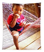 Bribri Indian Child In A Hammock Tapestry