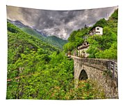 Bridge And Mountain Tapestry