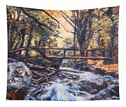 Morning Bridge In Woods Tapestry