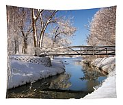 Bridge Over Icy Water Tapestry