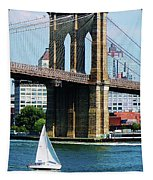 Bridge - Sailboat By The Brooklyn Bridge Tapestry