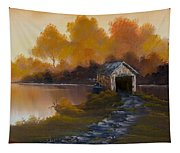Covered Bridge In Fall Tapestry