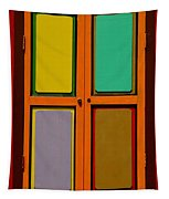 Bright Colorful Window Shutters With Four Panels Tapestry