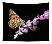 Painted Lady Butterfly On Purple Flower Tapestry