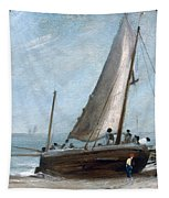 Brighton Beach With Fishing Boats Tapestry