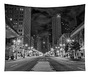 Broad Street At Night In Black And White Tapestry
